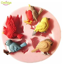 Wholesale Chocolate Decoration Moulds - 1PC 3D 5 Birds Silicone Cake Mold New Design Cute Bird Chocolate Soap Mold Baking Cake Decoration Tool DIY Cake Moulds