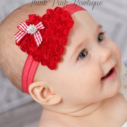 Wholesale Red Glitter Headbands - Valentines Day Baby Headbands Heart Shaped Glitter Sequin Hairbands Toddlers Red Headband Christmas Photography Props First Valentine