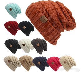 Wholesale Hats H - New men women h at CC Trendy Wa rm Oversized Chunky Soft Oversized Cable Knit Slouchy Beanie 12 color