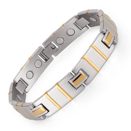 Wholesale Mens Health Bracelets - Mens 361L stainless steel magnet Balance energy double magnetic Power health bracelets Bangles OSB-1346SG
