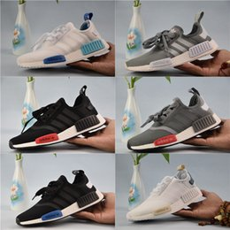 Wholesale Fabric Cream - Adidas Originals NMD Runner R1 Primeknit Sneakers 2018 New Men And Women Running Shoes Triple White Black Discount Sport Shoes
