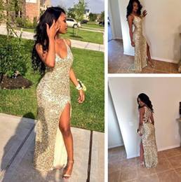 Wholesale Cheap Prom Dresses China Made - 2017 cheap prom dresses V neck gold dress side split evening dress criss cross back images long party gowns hot sale made china