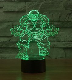 Wholesale Halloween Atmosphere - The Hulk 3D LED Night Light Acrylic Colorful Atmosphere Lamp With USB Line 7 Light Colors