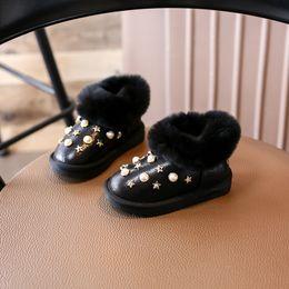 Wholesale Black Stud Ankle Boots - Luxury Fur Snow Boots For Girls, Gold Rivet Stud Pearl Glitter Children Australia Shoes for Winter Plush Warm Kid Footwear