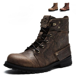 Wholesale Moto Racing Boots - New Top Quality Motorcycle Touring Boots Vintage Design Casual Wear Cow Leather Riding Ankle Motorbike Street Racing botas moto