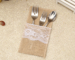 Wholesale Shabby Chic Bags - Vintage Shabby Chic Jute Burlap Lace Wedding Tableware Pouch Cutlery Bag Rustic Wedding Table Decoration WA0842