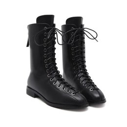 Wholesale Trend Women Winter Boots - 2017 autumn and winter new trend women flat bottom short boots lace up Martin boots fashion motorcycle boots
