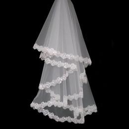 Weiß Elfenbein lange Spitze Schleier Pailletten Applique Lace Brautschleier 2018 eine Schicht 1,5 m Länge Fingerspitze Länge Lace Brautschleier nach Maß von Fabrikanten
