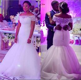 Wholesale Short Dress Multicolor - Modest Plus size Sheer Beading Bateau Neck Wedding Dresses Mermaid 2017 Button Back Bridal Gowns Tulle Sweep Train Custom Made