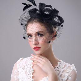 Wholesale Gray Wedding Hats - High Quality Bridal Hats Vestidos de noiva New Fashon Wedding Accessories black pink beige purple grey Colors Bridal Events Headpiece Hair