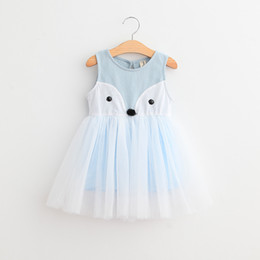 Wholesale Girls Tutu One Piece - 2T-7T Girls' Cotton fox lace dress One Piece Sleeveless Girls dresses Pink Blue 2 colors 5sizes Spring Summer