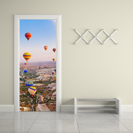 Wholesale Hot Air Balloon Wall Art - 3D Hot-Air Balloon Door Sticker 2 pcs set Creative Moutain Door Wall Stickers Bedroom Home Decoration Poster PVC Waterproof Door Sticker