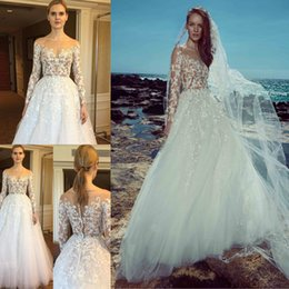 Wholesale Zuhair Murad Lace Bodice - 2017 Zuhair Murad Beach Wedding Dresses Long Sleeves Sheer Neck Lace Applique Bridal Gowns Sexy Illusion Bodice Tulle Wedding Dress