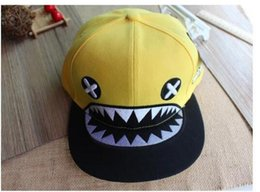 Wholesale Wholesale Shark Baseball Caps - Men Fitted Snapback Hats Popular Baseball Caps Hip-hop Flat Couples Cap The Hat Fashion The Shark Korea Sun Hat for Women Hot Sell