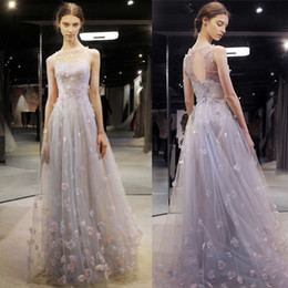 Wholesale Purple Quinceanera Decorations - Sexy flower decoration evening dress backless sleeveless sweep train party dress