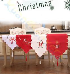 fashion Party Home Decorazioni natalizie Ricamo Babbo Natale Bandiera da tavola Runner Tovaglia Tovaglia Tovaglia da bandiere corridori fornitori