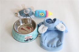 Wholesale Ceramic Toy Set - Dog Bowls Pet Supplies Dogs Clothing Stainless Steel Fool Bowl Collar Bibs Toys Practical Set Combination