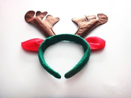 Wholesale Reindeer Antlers Headband - deer antler headband antler christmas headbands horn headband with ears Christmas Headwear Christmas reindeer antlers jingle bells hair band