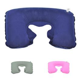 Wholesale Flock Fiber - Wholesale- Outdoor Car Air Travel Pillow U-Shaped Pillow Flocking Inflatable Pillow Cervical Pillows portable Comfortable W5
