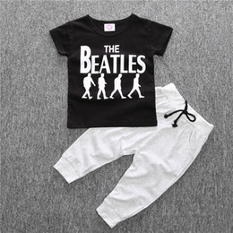 Wholesale Mandarin Collar Tops - Summer Baby Boy Kids Short Sleeve T-shirt Tops +Pants 2 Pcs Outfit Clothing Set Suit 4 S l