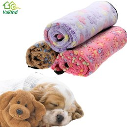 Wholesale Wholesale Paw Print Towels - 3 Colors Warm Dog Bed Mat Cover Dogs Cats Pet Blanket Fleece Towel Paw Handcrafted Print Dog House Puppy Bed Winter Pet Supplies