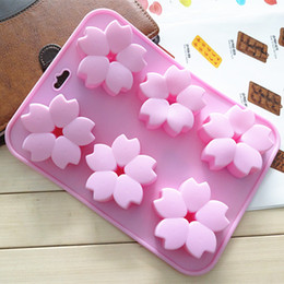 Wholesale Cherry Soap - Sale! Creative Diy Cupcake Bake 6-hole Cherry blossoms-shaped silicone chocolate cake mold jelly pudding Soap Easter
