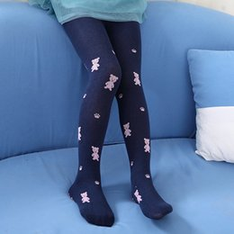 Wholesale Tights For 12 Years - Wholesale-3 sizes for 5~12 years Baby girls Tights Breathing Cotton Cute Bear Knitting Pantyhose High-quality Six Colors