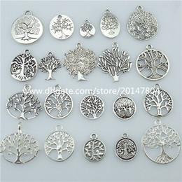 Wholesale Vintage Silver Christmas Tree - 13677 1set=20pcs Mix Vintage Silver Tone Tree Plant Tree of Life Pendant Dangle Charm Jewelry Wholesale