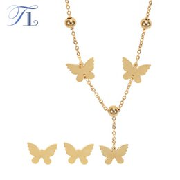 Wholesale Dubai Jewelry Necklace - TL Stainless Steel Golden Butterfly Jewelry Sets For Women Fashion Costume Accessories Cute Party Jewelry Dubai Jewelry Sets