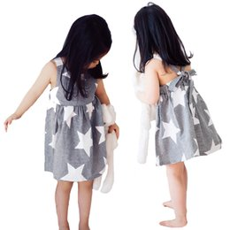 Wholesale Stars Kids Dress - Retail INS Suspender Kids Dresses For Baby Girl Clothes Striped Star Printed Baby Girls Princess Dress Summer Style Girls Backless Dress