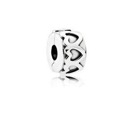 Herbstcharme online-Für Pandora Armbänder Row of Hearts Clips Silber Perlen 2016 Herbst 100% 925 Sterling Silber Charms DIY Schmuck großhandel