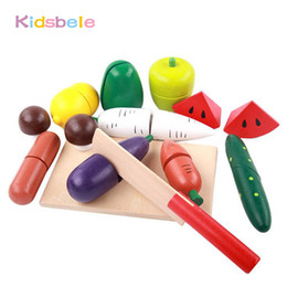 Wholesale Pretend Baby Food - 13 PCS Set Wooden Kitchen Baby Toys Pretend Up Vegetable Fruit Food Cutting UP Jouet For Kids Educational Gifts