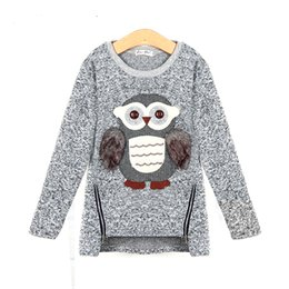 Wholesale Cartoon Sweater Kids - 2017 autumn new fashion girls sweaters kids fleece lined zipper sweaters cartoon cute owl casual cotton girls sweater