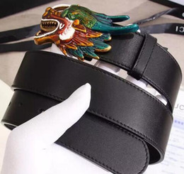 Wholesale Leather Dragon - Hot selling new mens womens fashion 3 colors Dragon buckle belt size 105-125 cm variety of styles belt for gift