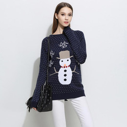 Wholesale sweaters cartoon women - Women Sweaters Pullovers High Quality Knitted Tops Sweater O Neck Long Sleeve Casual Loose Knitwear Cartoon Cute Gray Blue Pullover