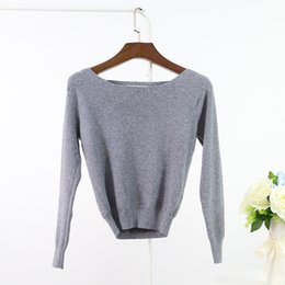 Wholesale Sweaters Womens Pullovers Knitwear - Wholesale- Spring Cashmere Short Knitted Tops Womens Long Sleeve Knitwear Female Fashion Crop Top Slash Neck Pullovers Lady Short Sweater