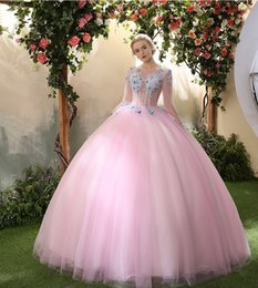 Wholesale Singed Flowers - Brand New 2017 Pink Mesh O-Neck Long Sleeve Butterfly Flowers Appliques Marie Antoinette Long Dresses Retro Singe Solo Ball Gown
