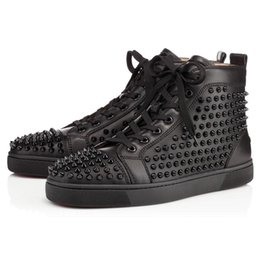 Wholesale Womens Spiked Sneakers - [with box] Luxury brand Spikes Sneaker Shoes Mens Womens Red Bottom Sneakers Genuine Leather Flats With Outdoor Shoes Party Shoes EU 36-47