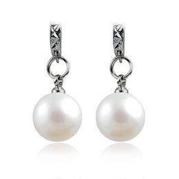 Wholesale Small Pearl Gold Earrings - Wholesale- Silver Hoop Earrings Simulated Pearl Small Circle Huggie Earring Round Loop Dangle Eardrop Statement Charm Women Ear Jewelry