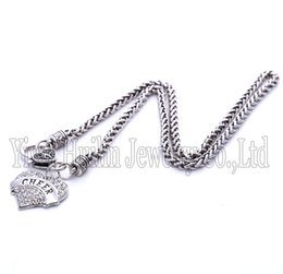 Wholesale Cheer Necklaces - Drop Shipping New Arrival rhodium plated zinc studded with sparkling crystals CHEER heart pendant wheat chain necklace