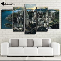 Wholesale Harry Potter Wall - HD printed 5 piece canvas art Harry Potter Castle painting wall pictures for living room modern free shipping  NY-7108B