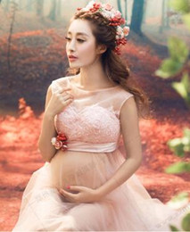 Wholesale Short Pans - New Lace Maternity Dresses For Photo Shoot Sexy Pregnant Dresses Maternity Gown Off shoulders Pregnancy dress Photography Props