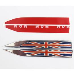 Wholesale Uk Flag Sticker - 2pcs lot UK England Flag Car 3D Body Blade Sticker Car Side Fender Skirts Kinife Type Sticker Badge Auto Emblems