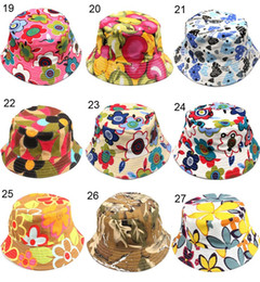 Wholesale h hat - Fashion bucket hats for kids floral strawberry Cherry apple animal printed baby girls boys sunhats infant child toddler caps 30styles H-1