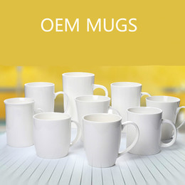 Wholesale Coffee Spoons Porcelain - Ceramics Cups Coffee Mugs Withe Mug Support OEM Beer Wine Glasses Print You Own logo Casual Easy Life Cups Free DHL