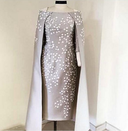 Wholesale jackets for women pictures - Silver Gray Cape Style Evening Gowns 2017 Bateau Neckline Satin White Applique Sheath Prom Dresses For Women Custom Made Formal Party Dress