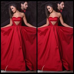 Wholesale Holes Rectangle - Charming A Line Sweetheart Red Evening Dresses 2017 With Hole Front Sleeveless Sexy Long Formal Gown abendkleider lang