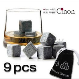 Wholesale Mold Stones - Kitchen Gadgets stone cube Shape Stainless Steel Whiskey Ice Cubes Cooler Stone Wine Beer Cooling Tray Mold Ice Mould 9 particles