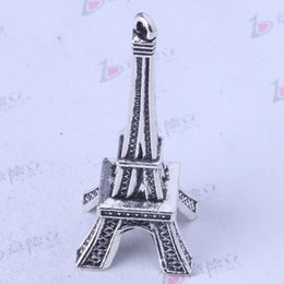 Wholesale Eiffel Tower Antique Bronze Pendants - Eiffel Tower Antique Silver bronze Charm Pendant Zinc Alloy Fit Bracelets or Necklace 30pcs lot 3426