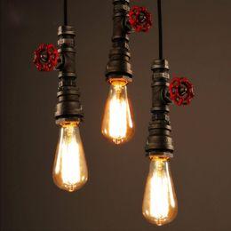 moderno ferro gaiola lâmpada pingente Desconto Atacado-Novo Luzes de Pingente de Tubulação De Água Do Vintage Industrial Edison Lâmpada Pingente Lâmpadas Loft Retro DIY Bar Lâmpadas de Teto Luminárias